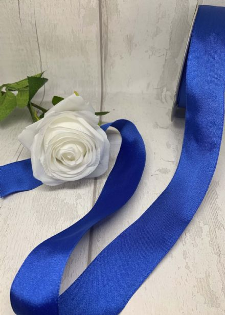 White or Royal Blue Wire Edge Ribbon